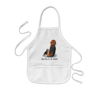 Lebreiro bonito do filhote de cachorro com arte do avental