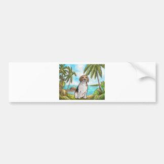 Lebreiro na praia tropical das férias adesivo para carro