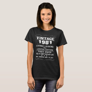 LEGENDA do VINTAGE 1981-LIVING Camiseta
