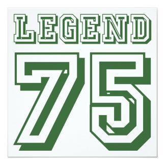 Legenda em 75 convite quadrado 13.35 x 13.35cm