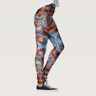 Legging À deriva no gato abstrato da revolução das cores