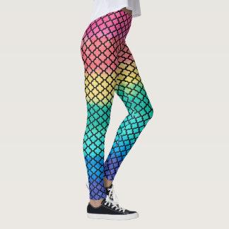 Legging A escova abstrata colorida afaga Quatrefoil preto