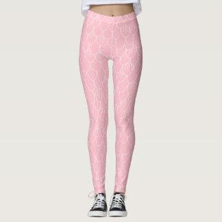 Legging A sereia cor-de-rosa escala caneleiras