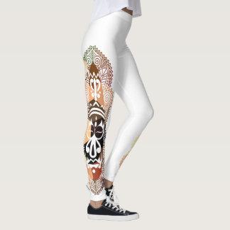 Legging Aborígene do mosaico do falso/máscara africana