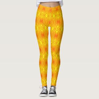 Legging Abstrato do amarelo alaranjado das vaga de calor