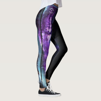 "Legging Abstrato do roxo de ""Amanda"" com tira"