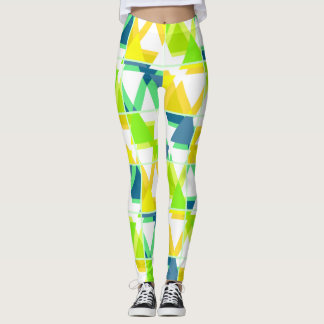 Legging Abstrato do verde amarelo