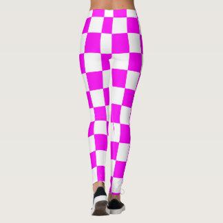 Legging Abstrato dos quadrados roxos & brancos repetível