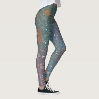 Legging Abstrato Mottled gasto turbulento do Splatter da