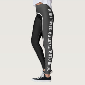 Legging Aço/caneleiras Customisable brancas/do preto texto