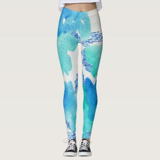 Legging Aguarela azul, doodle, caneleiras do teste padrão