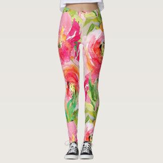 Legging Aguarela floral rústica colorida brilhante moderna