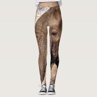 Legging Amante do elefante dos animais selvagens