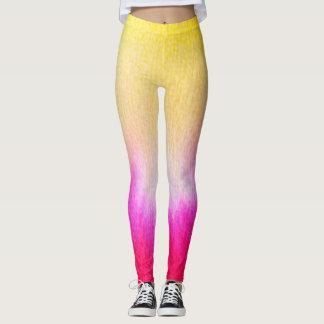 Legging Amarelo de néon do rosa quente do hipster do ikat