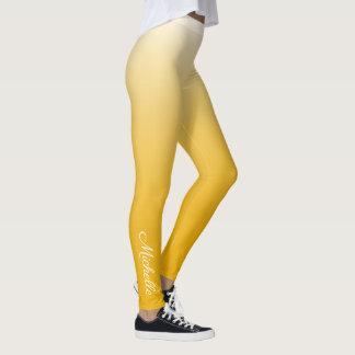 Legging Amarelo personalizado do ombre do inclinação