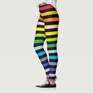 Legging Arco-íris mais largo do espectro e listras pretas