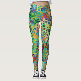 Legging Arte abstrata colorida de Digitas com quadrados