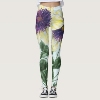Legging Arte da flor do Clematis