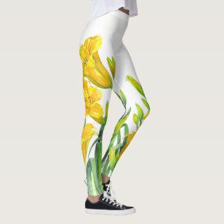 Legging Arte floral amarela dos lírios de dia da aguarela