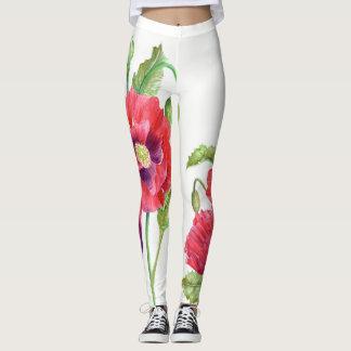 Legging Arte floral das papoilas vermelhas