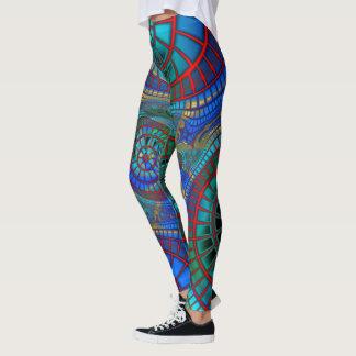Legging Arte legal e colorida do fractal em caneleiras