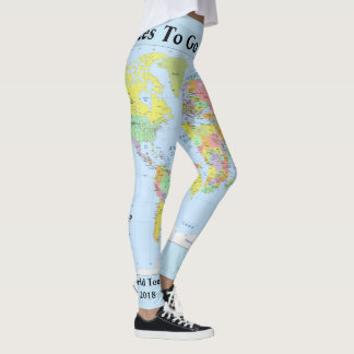 Legging As caneleiras do mapa do mundo SUA ioga do NOME
