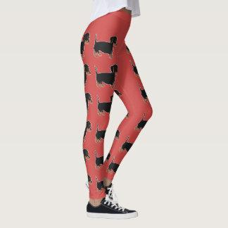 Legging As caneleiras vermelhas das mulheres pretas dos