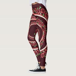 Legging As rosas vermelhas modelam caneleiras bonitos