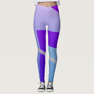 Legging Azul e design roxo