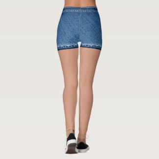 Legging Azul falsificado do short da sarja de Nimes