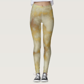 Legging Bege & mármore do ouro