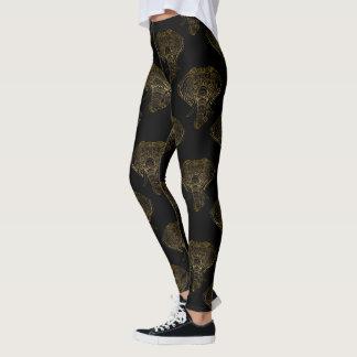 Legging Bohemian floral do teste padrão dos elefantes do