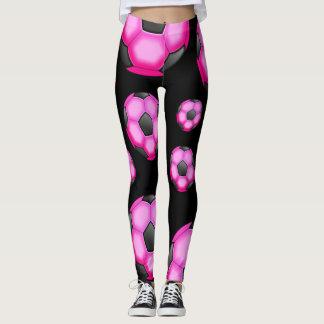 Legging Bolas de futebol do rosa quente