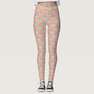 Legging Bolinhas cor-de-rosa bonito dos leggins da