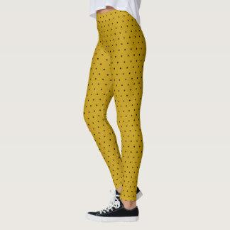 Legging Bolinhas pretas pequenas no amarelo da mostarda