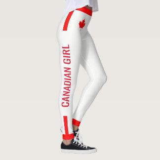 Legging Bordo canadense da menina em vermelho e em branco
