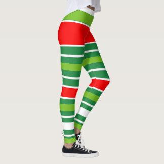 Legging Branco verde vermelho do Natal tradicional (sua