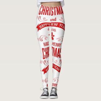 Legging Branco & vermelho do feliz ano novo do Feliz Natal