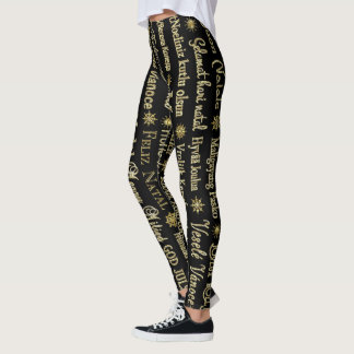 Legging Brilho diferente do ouro das línguas do Feliz
