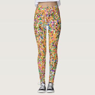 Legging Brilho moderno #9 do grão do mosaico multicolorido