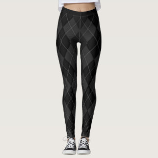 Legging (C) XS-XL_Leggings_ Clássico-Preto-Argyle