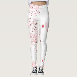 Legging Calças cor-de-rosa e brancas da ioga das