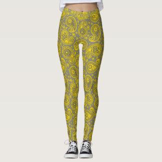 Legging Calças elegantes cinzentas amarelas da ioga de
