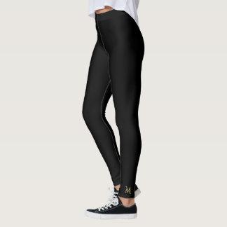 Legging Calças pretas lisas contínuas da ioga das