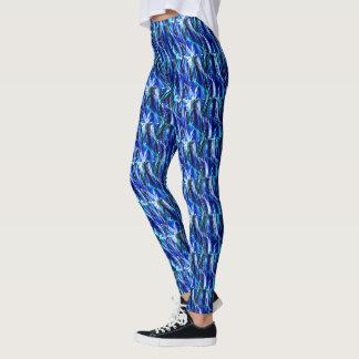 Legging Caneleiras à moda elegantes das ondas azuis escuro
