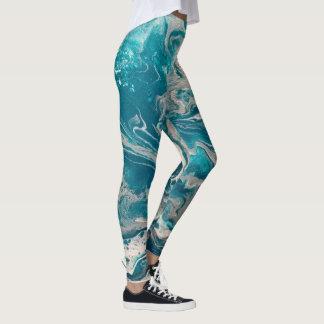 Legging Caneleiras abstratas de turquesa