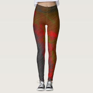 Legging Caneleiras abstratas do cinza e do vermelho