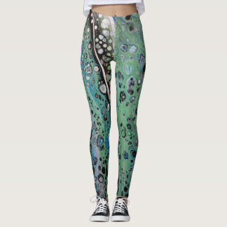 Legging Caneleiras abstratas do leopardo do verde azul