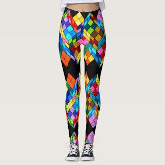 Legging Caneleiras abstratas dos cubos coloridos na moda