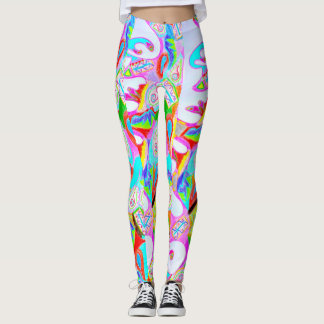 Legging Caneleiras abstratas impressas coloridas do design